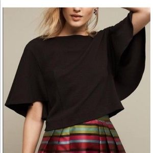 Black Batwing Style Blouse, Anthropologie XL